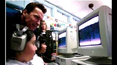"When a youngster tried to show Arnold Schwarzenegger how to use Windows 10, he couldn't quite grasp the concept and remarked, ""I'll stick with Vista, baby."""