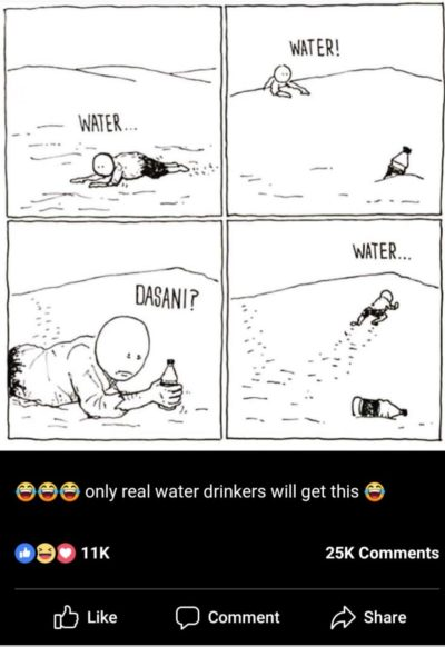 Haha because only people who waste money on packaged water are REAL water drinkers ! 😂😂😂