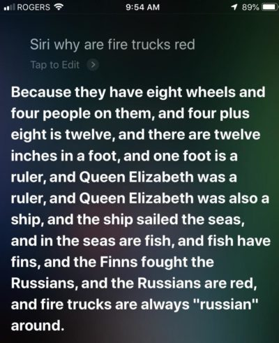 Thank you Siri. Very Cool!