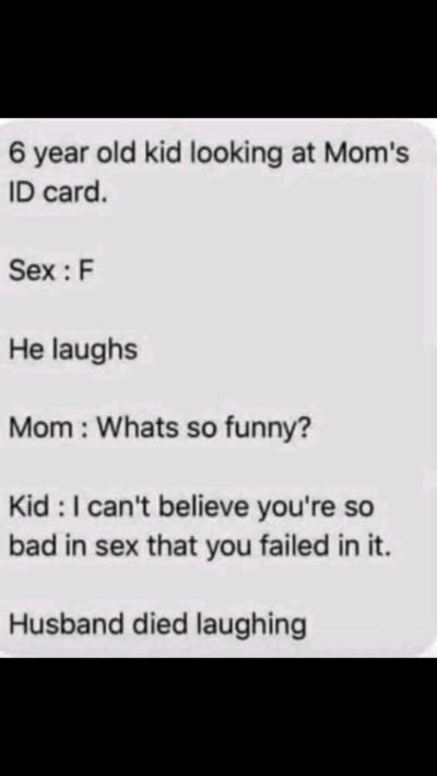 Husband died laughing