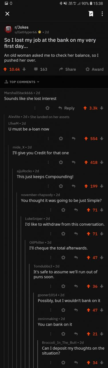 I bank on it