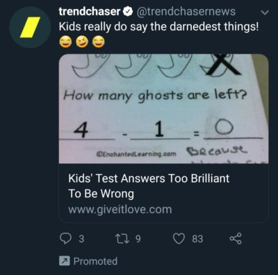 Darnedest right Twitter add, they really do.