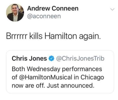 Hamilton gets cancelled because of the cold weather