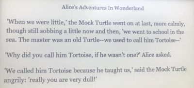 Alice's Adventures in Wonderland: when a turtle becomes a tortoise 🐢