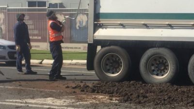 Truck drops 'human faeces' all over Toowoomba road