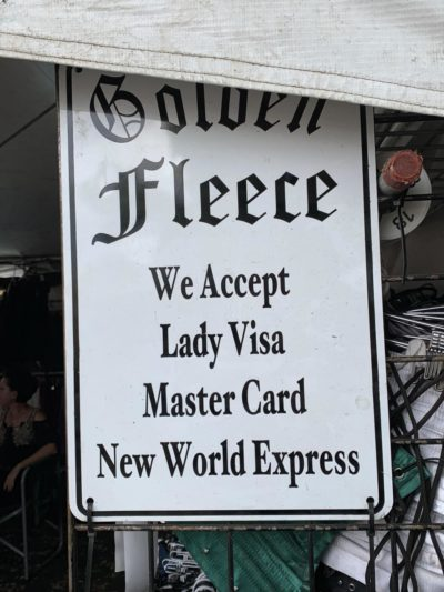 At the Renaissance fair they accept all sorts of punny payments