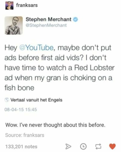 Stephen Merchant enduces a revelation