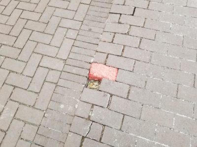 Missing paver replaced with ground beef