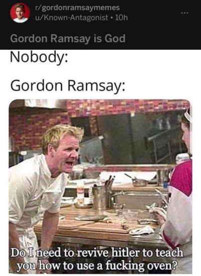 "can we stop with the ""Nobody:"" captions on memes? It was funny for the first week that it spread but the joke has been run into the ground"