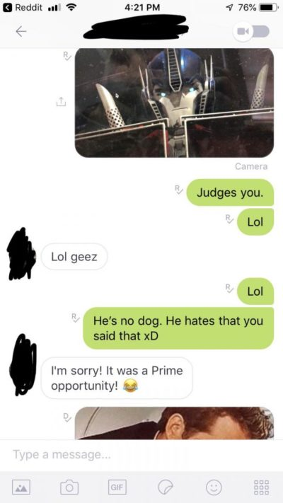 "Friend said Optimus Prime looked like a dog. I sent a pic of him ""judging"" and thus this happened."