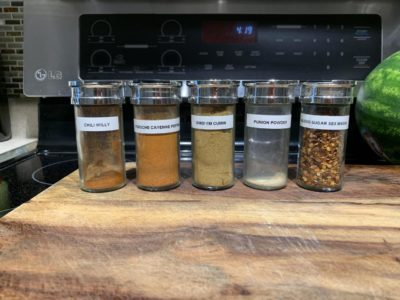 I also let me husband label the spices. Looks like we're low on punion powder.