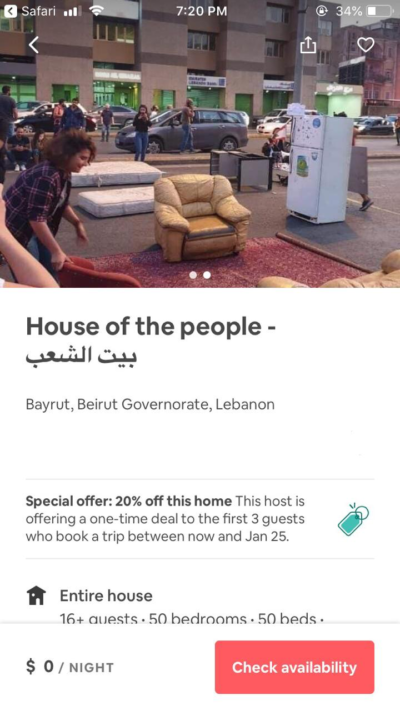 Lebanese protesters list a roadblock on AirBnb