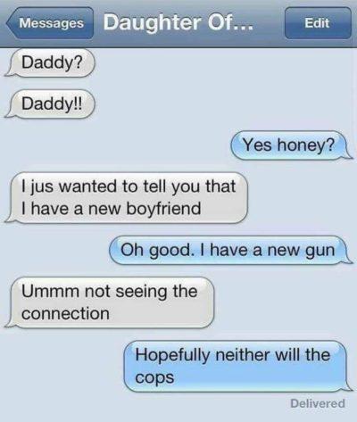 Thank god daddy's got a new gun