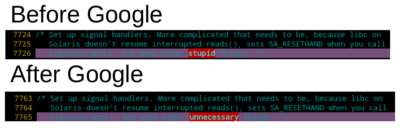 """AFL, one of the most well-known security fuzzer, recently has got purchased by Google. I was upgrading my own code modification based on the pre-Google version AFL to the recent Google-owned newer version, then I found out they """"civilized"""" some of the developer's comment. Mildly interesting."""