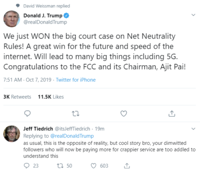 Pay more for crappier internet to own the libs!