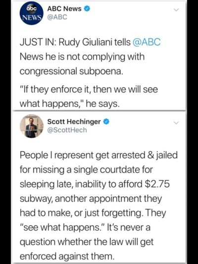 Comply with a Congressional subpoena? Rudy thinks not