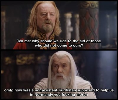 Since /r/lotrmemes doesn't allow politics