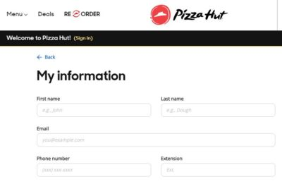 Pizza Hut Online's example name is John Dough, instead of John Doe.