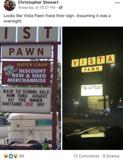 Vista Pawn Shop Sign: