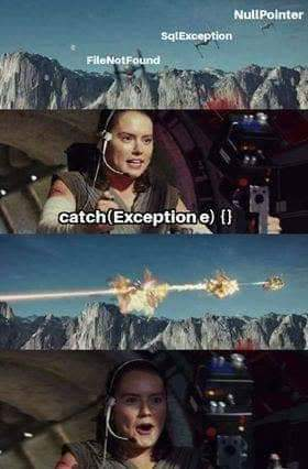 Kill two exceptions with one catch