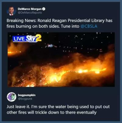 Just leave it. I'm sure the water being used to put out other fires will trickle down to there eventually.