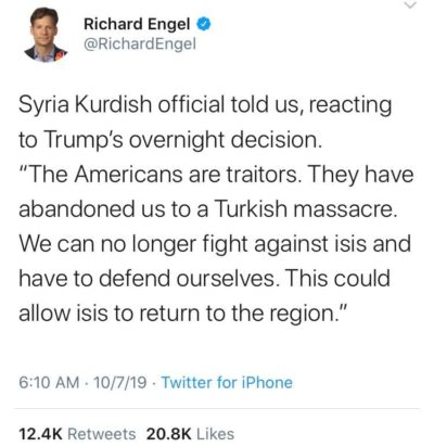 Dear Kurds- Please know that it is Trump and his equally vile supporters who are the traitors, not America as a whole. We are working as fast as we can to impeach the criminal in our White House