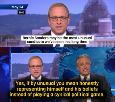 Jon Stewart in 2015 on Bernie Sanders being called unusual