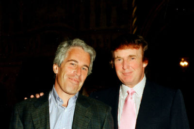 A sexual predator accused by multiple women of a variety of abuses ranging back to the 1970s. Also pictured: Jeffrey Epstein.