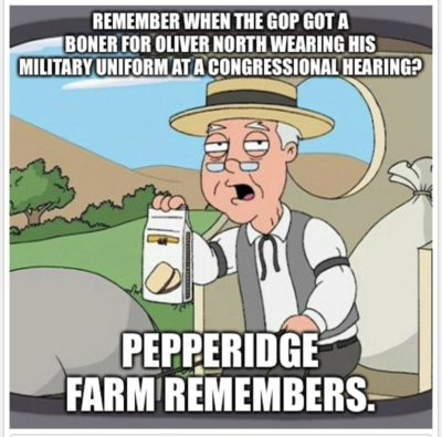 Bashing a witness at the impeachment hearing for wearing his military uniform?