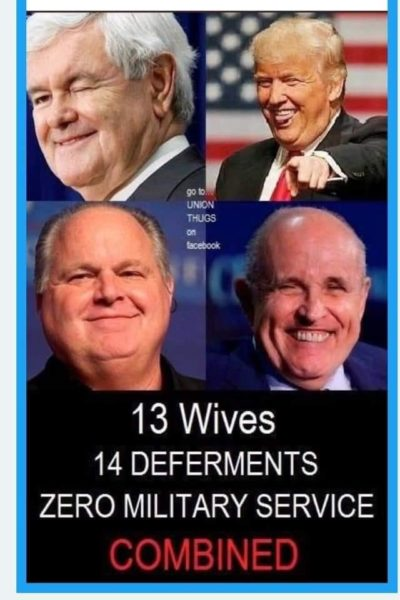 13 wives, 14 deferments, ~0~ military service…COMBINED