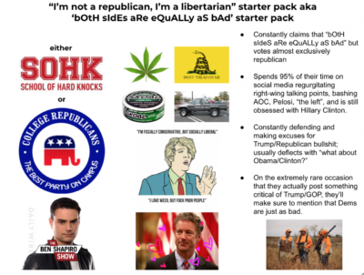 """not republican, I'm libertarian"" starter pack"