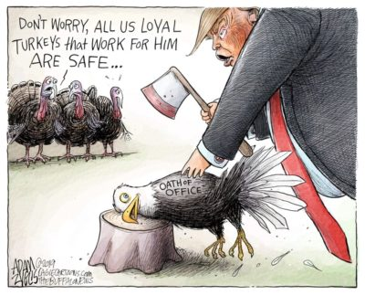 Donald's been holding a grudge since that eagle nearly pecked his eyes out.