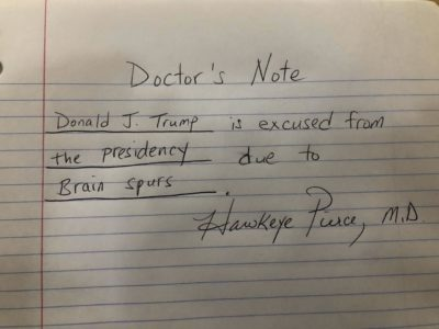 "Trump's medical report following his unannounced trip to Walter Reed for his ""yearly physical"" today"