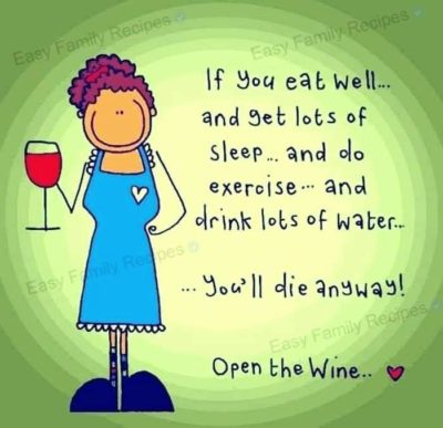 "Peek aunt humor is always about drinking wine/""I'm lazy""/""I'm a bitch"""