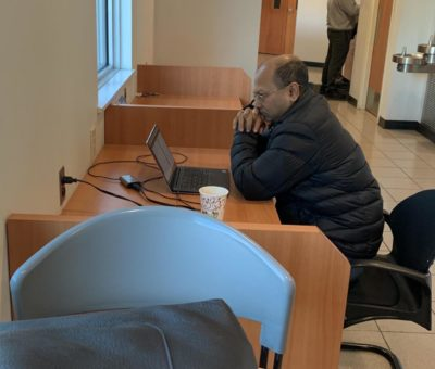 This guy in the waiting room is working on some Python code…he has not moved from this position and has been staring at the screen for 25 minutes and counting….debugging at work 😂