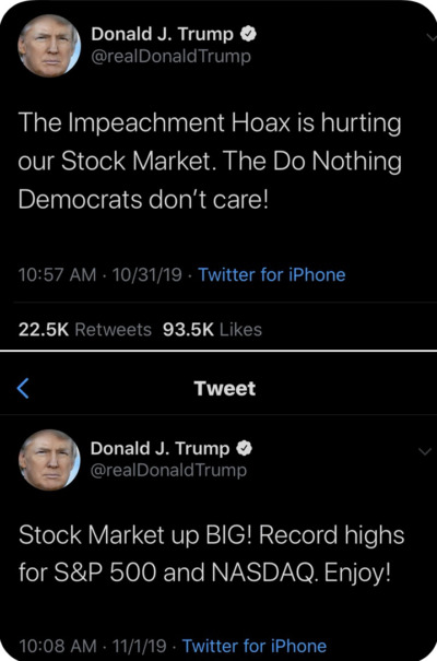 These two trump tweets were posted within 24 hours of each other. Convinced he doesn't remember what he said the day before.