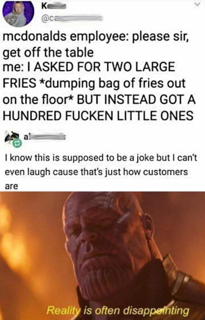 Unncesary tumblr comment and Thanos for no reason? Amazing