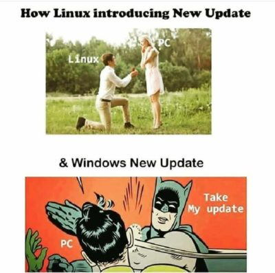 Linux vs Windows update.