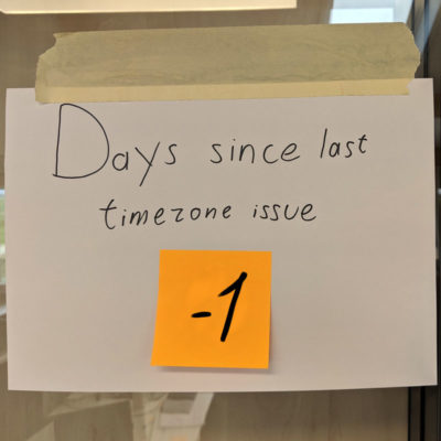 days since last timezone issue [fixed]
