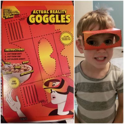 "The back of this cereal box had cutout ""actual reality goggles"""