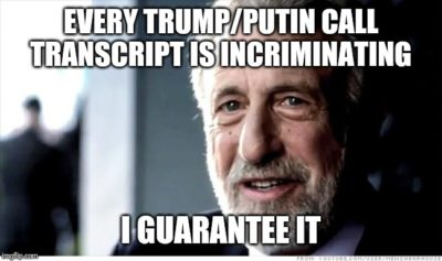 "I heard the transcripts mainly appear to be Putin reading ""autocratcy for idiots"" verbatim to Trump ;)"