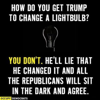 TODAY'S RIDDLE: How do you get Trump to change a light bulb?