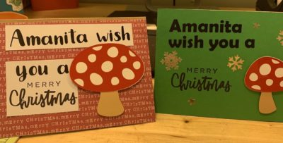 Pretty pleased with my mushroom Punny Christmas cards