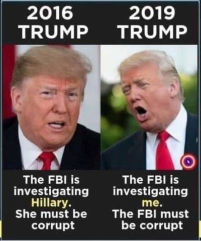"""No one under FBI investigation should be able to run for president!"" – Trump, 2016"
