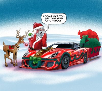 haha santa has a car