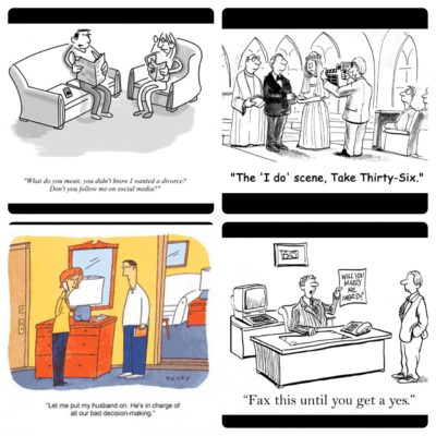 "A sampling from a Readers Digest article entitled ""20 Love and Marriage Cartoons That Are Hilariously Accurate"""
