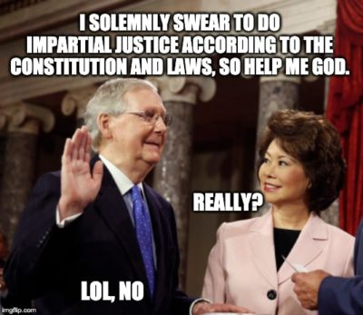 McConnell taking the oath for the impeachment trial