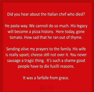 I'll give you a penne for your thoughts on this one.