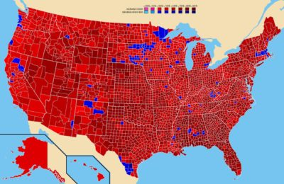 "To everyone sharing the misleading map that shows the counties that Little Donny won in the 2016 election with the caption of ""You Can't Impeach This"" — this is the map showing all the counties Nixon won in 1972. He was out of the White House two years later."