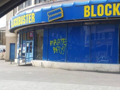 The Pirate Bay graffiti on a BlockBuster store
